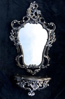 Wandspiegel Schwarz Silber Barock mit Wandkonsole Antik 50X76 Spiegelablage Neu