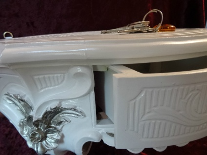 Wandkonsole Antik/Spiegelkonsolen mit SCHUBLADE/ BAROCK Weiß Silber B:50cm cp84 - Vorschau 3