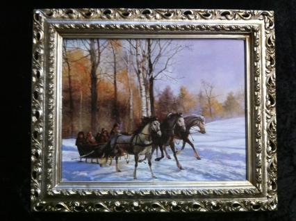 Gerahmte Gemälde Bilder Rahmen Landschaftsbilder Arabesco 43x36 Antiksilber 16
