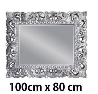 Wandspiegel Antik Silber Ornament 100x80 Standspiegel Flurspiegel Badspiegel