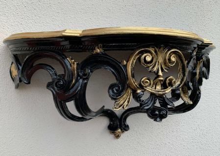Regal Wandkonsole Schwarz-Gold Barock 50x20x24 Antik Blumenregal Telefonisch - Vorschau 3