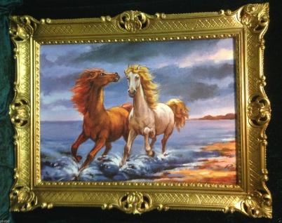 Gemälde Pferd Bild 90x70cm Barock Ölbild Kunstdruck Pferde am Meer Tiere Pferd 1 - Vorschau 2
