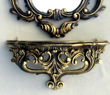 Wandkonsole Barock mit Wandspiegel Antik Schwarz-Gold Badspiegel 50X76 Spiegel
