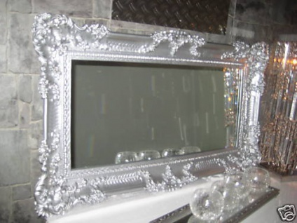 Wandspiegel Spiegel Barock Grosser Silber Hochglanz 97x57 Antik