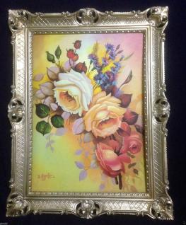 Gerahmte Gemälde BLUMEN Rosen Bild 90X70 Rosenbilder Bild mit Rahmen