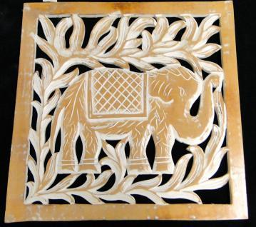 Wanddeko Antik ELEFANT 41x41x 2 Wandbehang Holz Mango Handarbeit Deko indien !