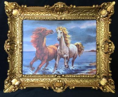 Bild mit Rahmen Pferde Am Meer Wandbild 57x47 Gerahmte Gemälde Gold PFERD