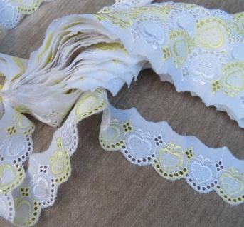 Lochspitze Spitze Tischdecke Kissen Bett Spitzenborte Band Borte 4 cm Gelb Weiß