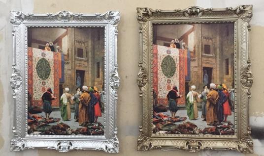 Rahmen mit Bild Gemälde Teppich Verkäufer orientalisches 90x70cm Barock silber