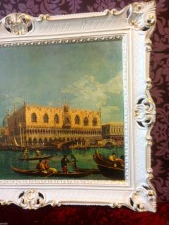 Bild mit Rahmen Weiß-Gold Wandbild NOSTALGIE ITALIEN 90x70 Venedig Bild gondol - Vorschau 3