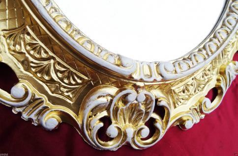 BILDERRAHMEN GOLD-WEIß OVAL Retro Spiegelrahmen 45X37 Antik Picture Frame 3045