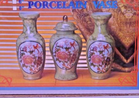 Dekorative 3 er Vasen Set in Grün 26 cm Blumen Muster Porzellan Vase Blumen Vase
