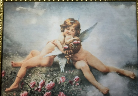 Schutzengel Engel Mädchen auf MDF 50x70cm Wandbild Schlafzimmer Heilige Bild