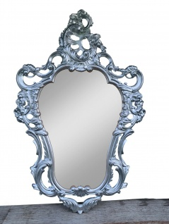 Wandspiegel Oval Silber Retro Vintage Spiegel Antik 50 x 76 Barock Spiegel Prunk
