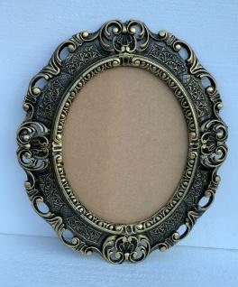 Bilderrahmen Oval Barock Schwarz Gold 45x37 Antik Fotorahmen + Schutzglas Prunk