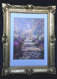 Gemälde von Monet The Garden Blumen Bilderrahmen Gold Wandbild Antik Garden 02