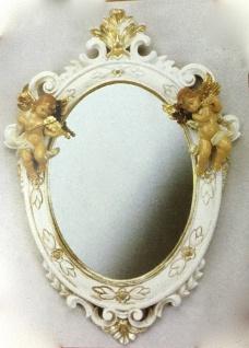 Wandspiegel Barock Weiß Gold Antik rokoko 38X28 Engel Flurspiegel Oval C446SBA