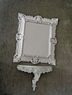 Wandspiegel mit Wandkonsole Weiß Silber Barock 45x37 Spiegel mit Konsole Vintage - Vorschau 4