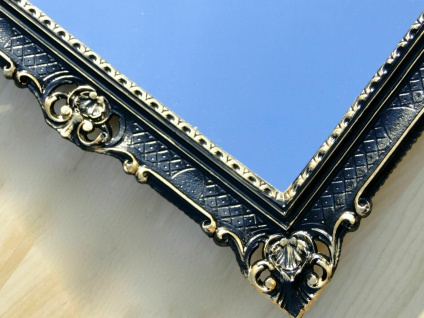 Bilderrahmen Barock Schwarz Gold mit Glas Hochzeitsrahmen Antik 90x70 groß MG