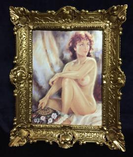 Akt Erotik Gemälde gerahmte Bild 56x46 Frau Nackt Bild mit Rahmen Barock 05