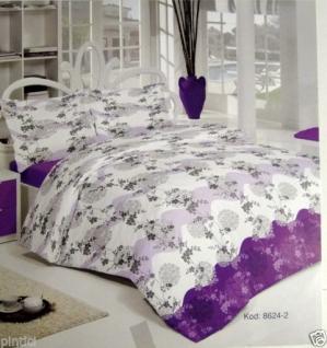 Bettwäsche Lila Weiß 4 teilig Baumwolle 200x220cm Bettbezug Kissenbezug 50x70