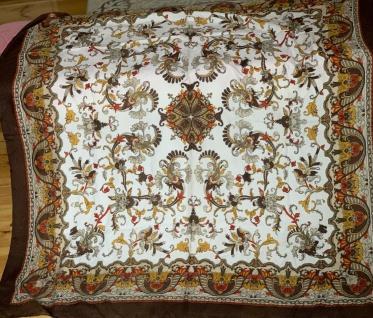 Halstuch Schal Bandana 120x120 Koptuch Batik Braun Ornament Blumen Tücher xxl