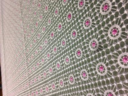 Spitzentischdecke Tischdecke Spitze festlich gesäumter Rand weiß Pink 160x160cm