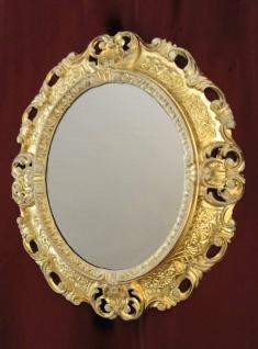 Wandspiegel WEIß GOLD OVAL ANTIK BadSpiegel Spiegel BAROCK 45X37 Neu 103045