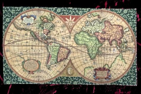 Wandteppich Gobelin Old Map Landkarte Weltkarte Antik 117 X 69 Wanddeko