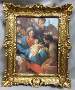 Geburt Jesus in der Krippe 56cm Antik Rahmen Jesus Christus Maria Mutter Gottes