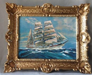 Segelschiff Meer Maritime Gemälde Schiffe Bilderrrahmen Wandbild Antik 56x46 W - Vorschau 2