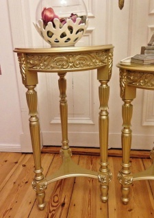 Blumenständer/Hocker Holz 85x48 Antik Beistelltisch Telefontisch Champagner Gold