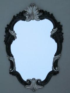 Wandspiegel Barock Schwarz-Silber Oval Vintage Badspiegel Antik 49X33 C443
