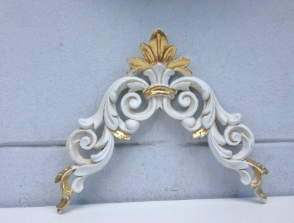 2 x Wanddeko Wandbehang Barock 28x23cm Weiß-Gold Möbel Tür Deko Wandrelief Antik