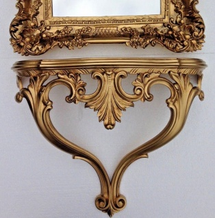 Wandkonsole Antik Gold Barock Konsole 56x45x18 Telefontisch Wandablage Regal