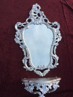 Wandkonsole Silber + Wandspiegel Silber Barock 50X76 Wandregal Antik Konsole ORG