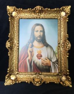 Jesus Christus Bild christliche Bild Heiligebild 56X46 Bilderrahmen Jesus Herz