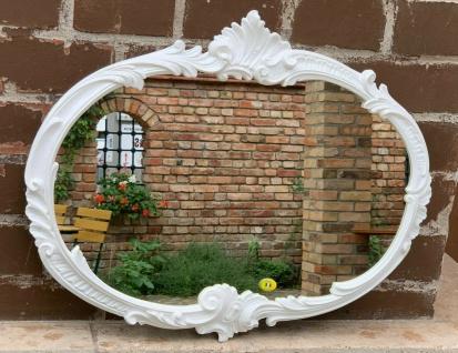 Wandspiegel Weiß Barock Oval Antik 52x42 Badspiegel Vintage Retro Rokoko Spiegel