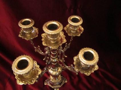 MESSING KERZENSTÄNDER 41cm Barock massiv Kerzenhalter DEKO GOLD 5 ARMIG Antik