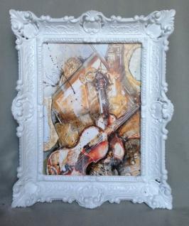 Bild mit Rahmen Gerahmte Gemälde 57x47 GEIGE Twin Music Instrumente Violine