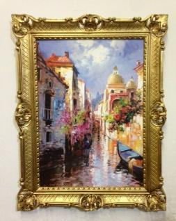Venedig Brücke Boot Gerahmte Gemälde 90x70 Italien Venezia Venedig Gondel Dom - Vorschau 2