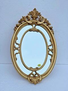 Wandspiegel Oval barock Gold 50x31 Flur Bad Spiegel Antik Dekorative Spiegel