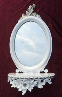 Wandspiegel Weiss Silber Barock mit Wandkonsole Antik Spiegel 48x25 Oval cp91