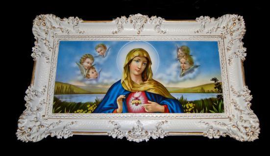 Bild mit Rahmen Bilderrahmen Antik Weiß-gold Heilige Maria 97x58 Gemälde Bild