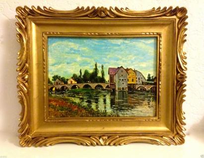 Gemälde Bilderrahmen 33x28 Antik BAROCK Rechteckig Bild Mit Rahmen LEINWAND