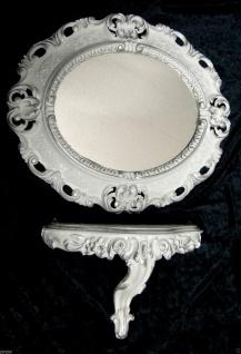Wandspiegel Oval Weiß Silber mit Ablage Wandkonsole Barock 45x37 Spiegelablage