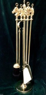 Kaminbesteck Kamingarnitur Pferdekopf poliertes Messing Massiv Gold 70cm, 1082078