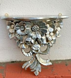 Wandkonsole Antik Silber BAROCK Konsole Deko Blumen 28x12 Wandspiegel C81 Regal