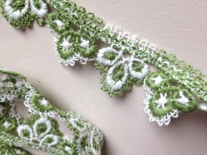 Spitze Spitzenborte Breite 3cm Grün-Weiß Baumwolle Ätzspitze Spitzenband kissen