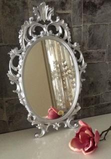 Wandspiegel Silber Oval Barock 43x27 Schminkspiegel Bad-Friseurspiegel Antik
